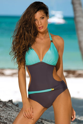 Sportive Contrast Color Monokini One Piece Swimsuit
