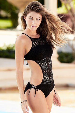 Ethnic Cutout Crochet Monokini One Piece Swimsuit