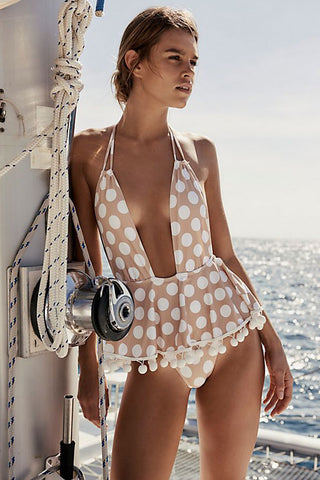 Plunged V Pompon Ruffle Polka Dot Monokini One Piece Swimsuit
