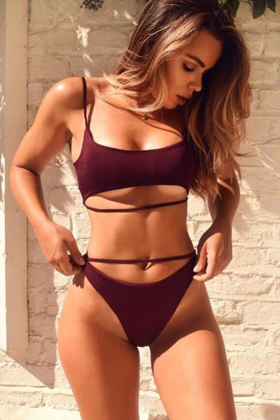 High Leg Strappy Bralette Bikini Swimsuit - Two Piece Set