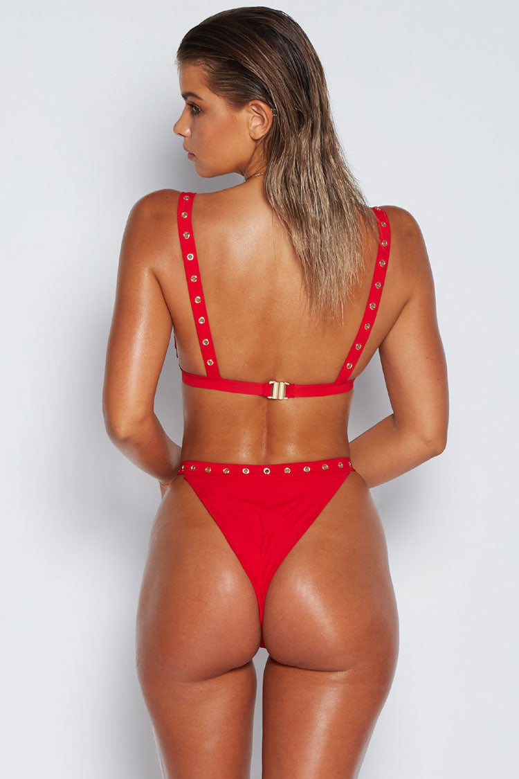 High Leg Eyelet Edge Triangle Bikini Swimsuit - Two Piece Set