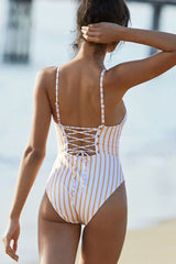 Crisscross Strappy Striped High Leg One Piece Swimsuit