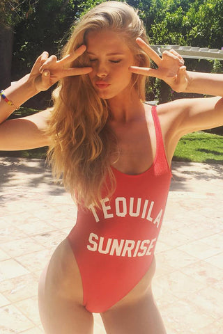 TEQUILA SUNRISE - Slogan One Piece Swimsuit