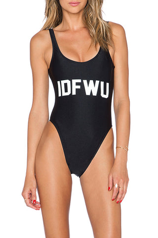 IDFWU - Slogan One Piece Swimsuit