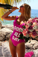 ROSE ALL DAY - Slogan One Piece Swimsuit