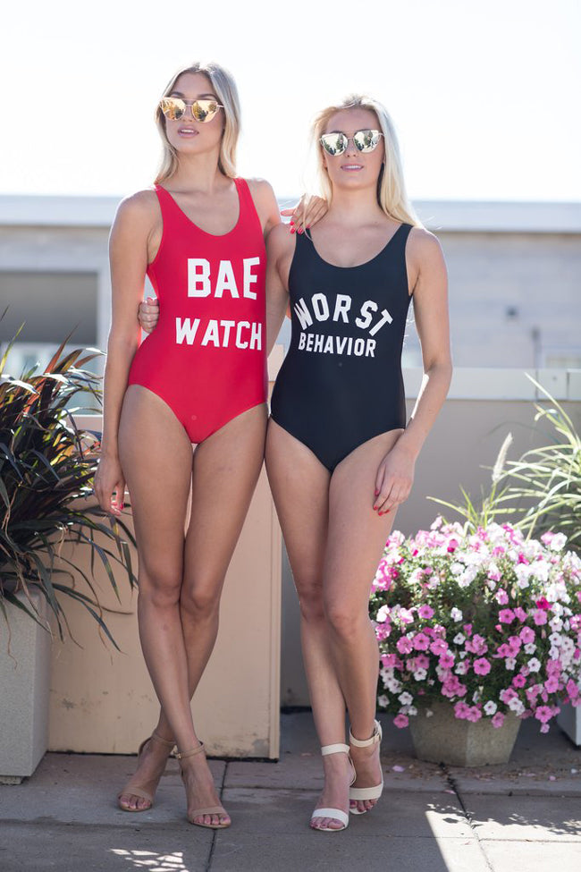 WORST BEHAVIOR - Slogan One Piece Swimsuit