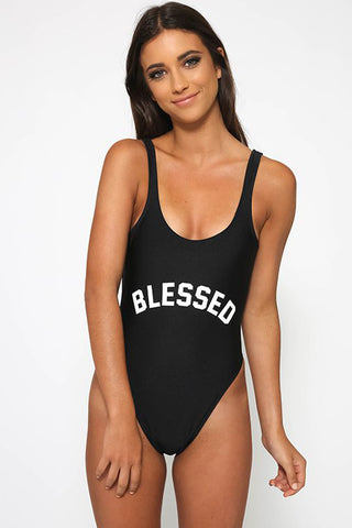 BLESSED - Slogan One Piece Swimsuit