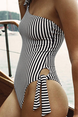 Vertical Striped Knotted One Shoulder One Piece Swimsuit