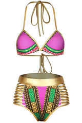 Metallic Strappy High Waist Slide Triangle Bikini Swimsuit - Two Piece Set