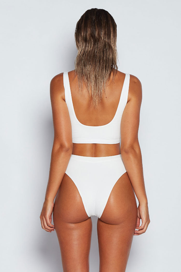 High Leg High Waist Clasp Fastening Bikini Swimsuit - Two Piece Set