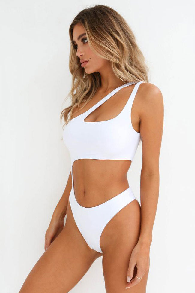 Solid Cutout One Shoulder High Cut One Piece Swimsuit