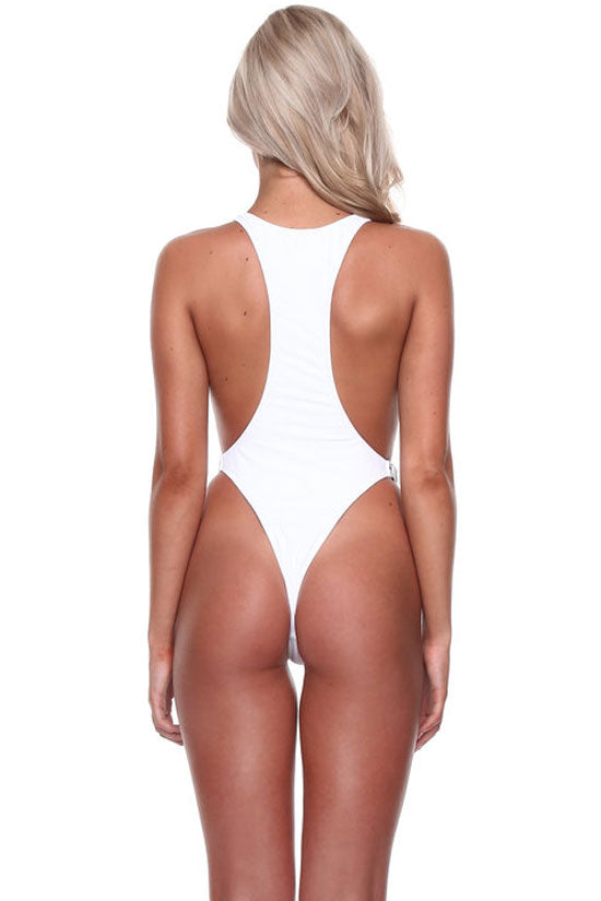 High Leg Buckle Fastening Racerback One Piece Swimsuit