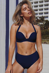 High Waist Push Up Halter Bikini Swimsuit - Two Piece Set