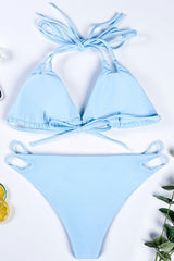 Strappy Slide Triangle Halter Thong Bikini Swimsuit - Two Piece Set