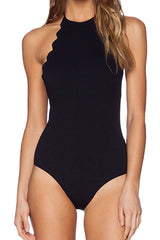 Low Back Scalloped Edge High Neck One Piece Swimsuit