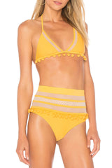 Pompon High Waisted Splicing Mesh Bikini Swimsuit - Two Piece Set