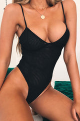 Mesh Low Back High Leg Thong V Neck One Piece Swimsuit