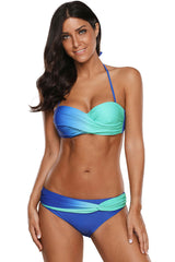 Gradient Color Underwire Twist Bandeau Bikini Swimsuit - Two Piece Set