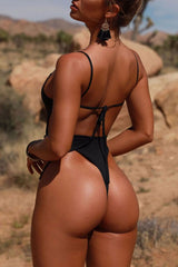 Low Back High Leg Plunged V Thong One Piece Swimsuit