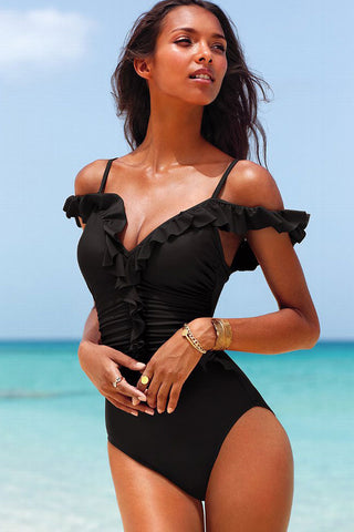 Solid Ruffle Cold Shoulder Ruched V Neck One Piece Swimsuit