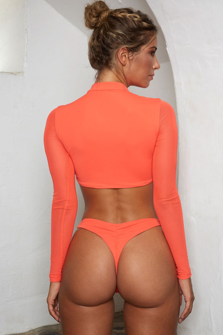 High Leg Thong Mesh Long Sleeve Crop Bikini Swimsuit - Two Piece Set