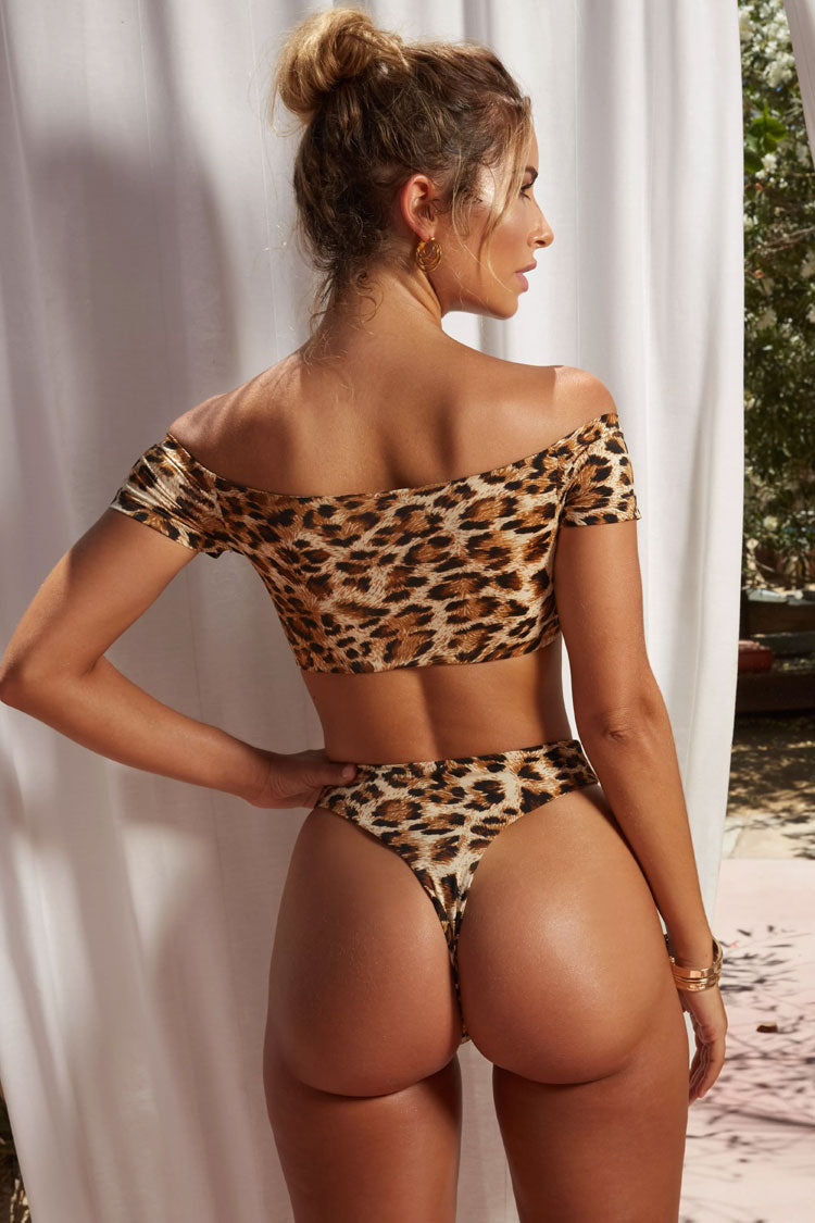 Leopard High Waisted High Leg Off Shoulder Bikini Swimsuit - Two Piece Set