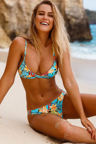 Tropical Floral Triangle Bikini Swimsuit - Two Piece Set