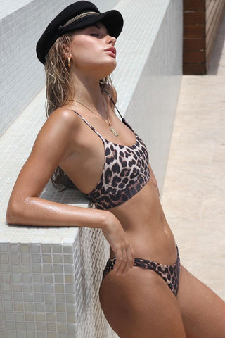 Cool High Leg Thong Leopard Bralette Bikini Swimsuit - Two Piece Set