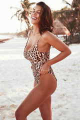 Sexy Leopard High Leg Scoop Neck One Piece Swimsuit