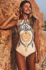 Bohemian Style High Neck One Piece Swimsuit