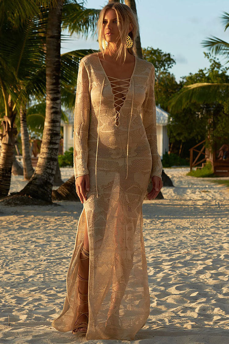Sheer Lace Up Split Crochet Maxi Cover Up
