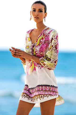 Effortless Snake Printed Chiffon Tunic Cover Up