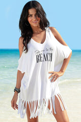 Basic Letter Printed Cold Shoulder Fringed Cover Up Dress