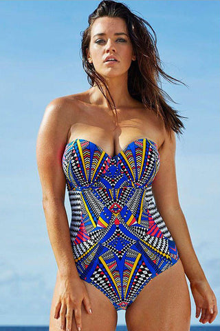 Plus Size Ethnic Printed Underwired Bandeau One Piece Swimsuit