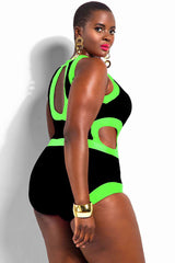 Plus Size Color Block Cutout One Piece Swimsuit