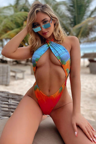 Boho Printed Low Back Cutout Thong Brazilian One Piece Swimsuit