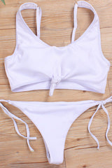 Ribbed Knotted Bikini Swimsuit - Two Piece Set