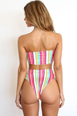 High Leg High Waisted Rainbow Striped Bandeau Bikini Swimsuit - Two Piece Set