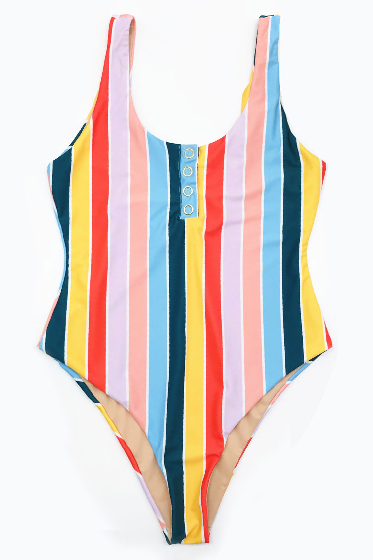 c3ab5fc6abf High Leg Rainbow Striped One Piece Swimsuit – Bikinishe