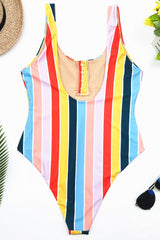 High Leg Rainbow Striped One Piece Swimsuit