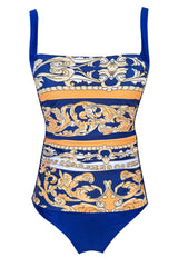Active Ethnic Print Ruched Square Neck One Piece Swimsuit
