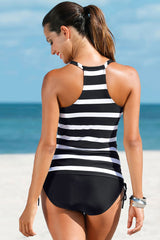 Athletic Tie Side Striped Racerback Tankini Swimsuit - Two Piece Set