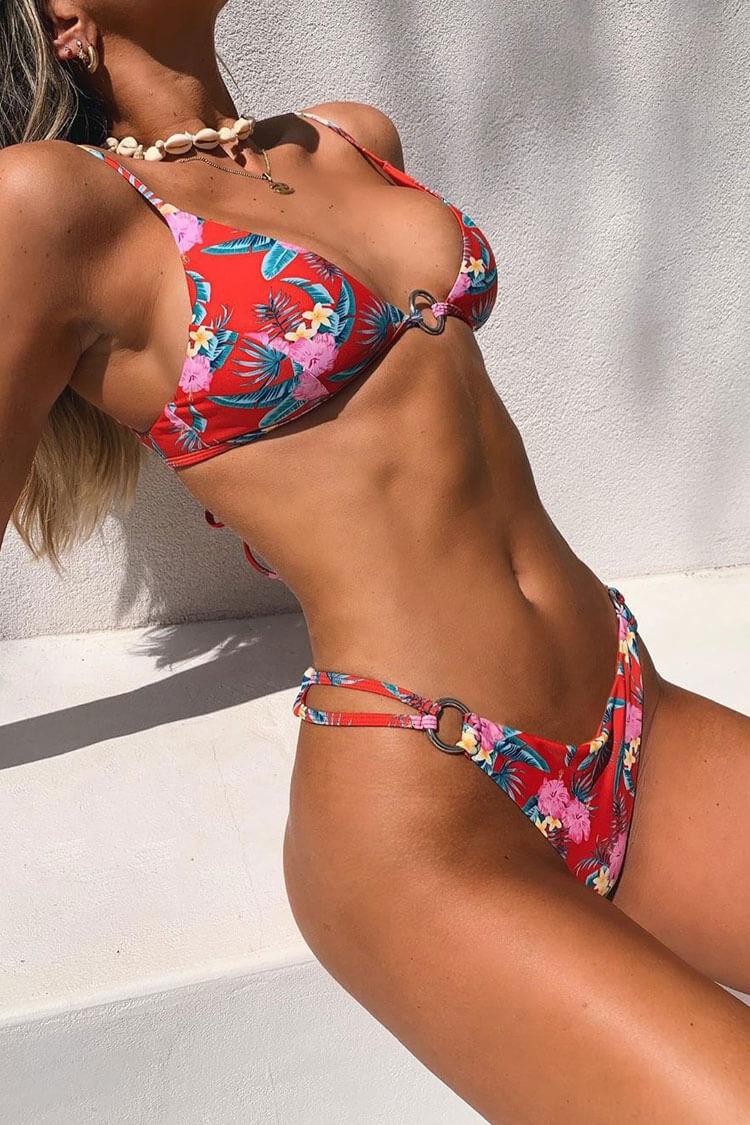 Blooming Floral Metal Ring Triangle Bikini Swimsuit - Three Piece Set