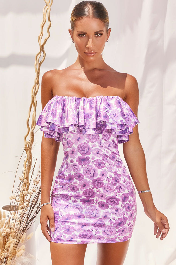 Blooming Floral Ruffle Bandeau Mini Bodycon Dress
