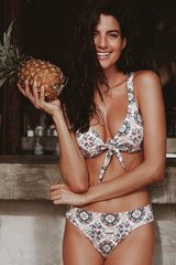 Boho Floral Knotted Front Bralette Bikini Swimsuit - Two Piece Set