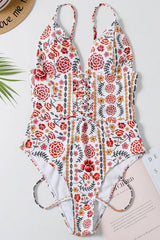 Boho Floral Plunged Neck Brazilian One Piece Swimsuit