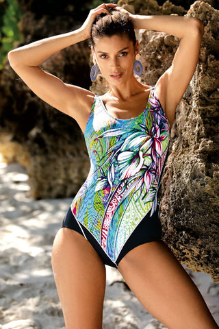 Boho Floral Print Cross Back One Piece Swimsuit
