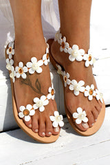Boho Flower Embellished Flat Sandals