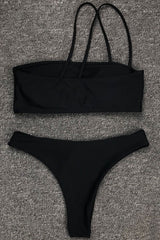Brazilian Cut Strappy Bandeau Bikini Swimsuit - Two Piece Set