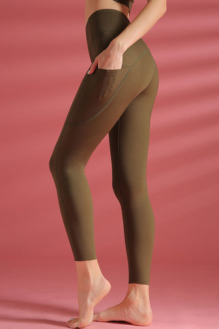 Breathable Naked Pocket Mesh Panel Active Yoga Leggings